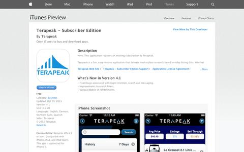 Screenshot of iOS App Page apple.com - Terapeak - Subscriber Edition on the App Store on iTunes - captured Oct. 22, 2014