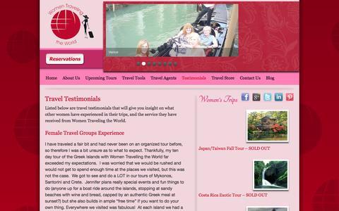 Screenshot of Testimonials Page womentravelingtheworld.com - Female Travel Group Testimonials | Women Traveling - captured Oct. 9, 2014