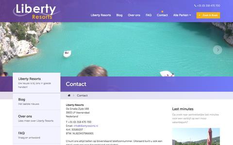 Screenshot of Contact Page libertyresorts.nl - Contact - Liberty Resorts - captured Nov. 6, 2014