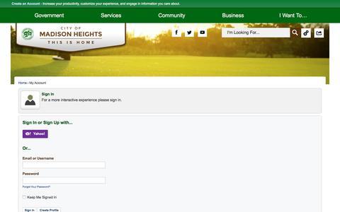Screenshot of Login Page madison-heights.org - Madison Heights, MI - captured Aug. 1, 2017
