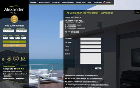 Screenshot of Contact Page alexander.co.il - Contact Us - Alexander Hotel Tel Aviv - captured Oct. 4, 2014