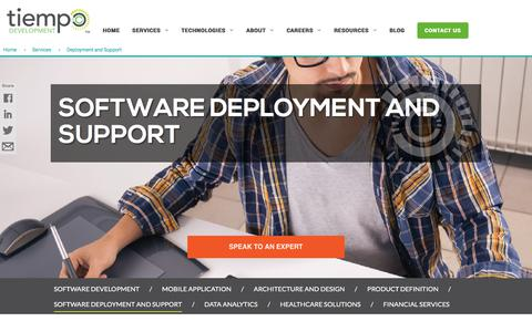 Screenshot of Support Page tiempodev.com - Software Support - Tiempo Offshore and Nearshore Software Development - captured Aug. 26, 2017