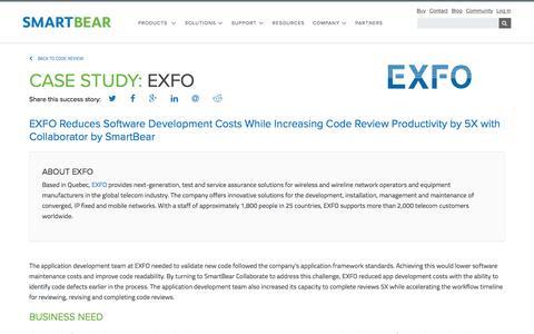 Screenshot of Case Studies Page smartbear.com - Case Study: EXFO | SmartBear - captured May 19, 2017