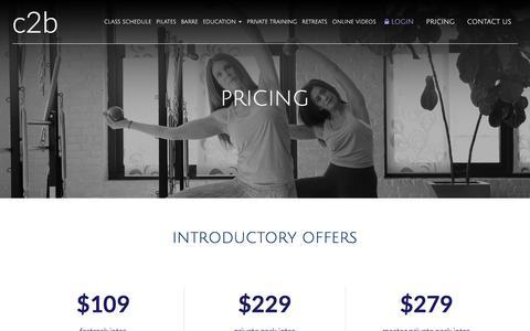 Screenshot of Pricing Page c2pilates.com - Pricing - Boston, Dedham | C2 Pilates - captured July 14, 2018
