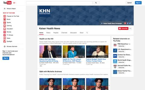Screenshot of YouTube Page youtube.com - Kaiser Health News  - YouTube - captured Oct. 23, 2014