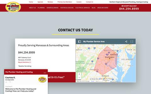 Screenshot of Contact Page myplumber.com - Contact Us | My Plumber Heating & Cooling - captured Oct. 18, 2018