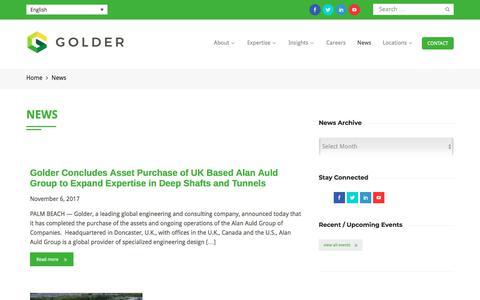 Screenshot of Press Page golder.com - News | Golder - captured Jan. 30, 2018