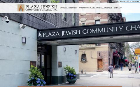 Screenshot of Home Page plazajewishcommunitychapel.org - Plaza Jewish Commuinty Chapel - captured Jan. 15, 2015