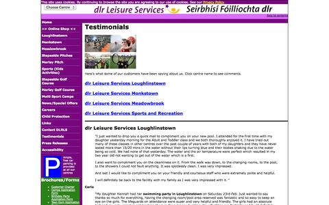Screenshot of Testimonials Page dlrleisureservices.ie - dlr Leisure Services - Testimonials - captured Oct. 5, 2014