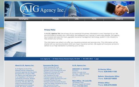 Screenshot of Privacy Page aigagency.com - AIG Agency - captured Nov. 21, 2016