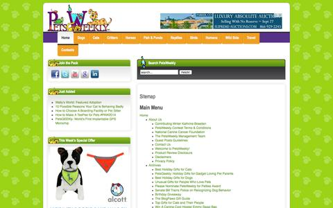 Screenshot of Site Map Page petsweekly.com - Sitemap - captured Sept. 23, 2014