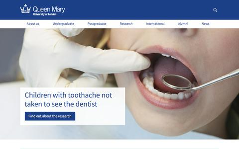 Screenshot of Home Page qmul.ac.uk - Queen Mary University of London - captured March 3, 2018