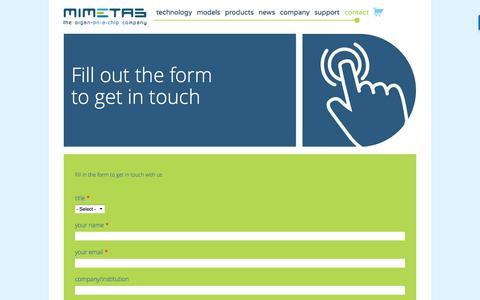 Screenshot of Contact Page mimetas.com - Contact | Mimetas - captured July 26, 2018