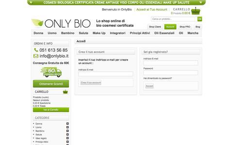 Screenshot of Login Page onlybio.it - Accesso - OnlyBio - captured Sept. 20, 2018
