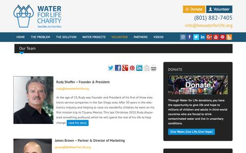 Screenshot of Team Page bewaterforlife.org - Our Water for Life Team   Water For Life - captured Nov. 2, 2018