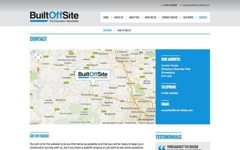 Screenshot of Contact Page built-offsite.com - Contact | Built Offste | Built OffSite - captured Sept. 30, 2014