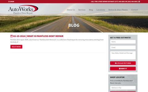 Screenshot of Blog autoworkspdr.com - Blog   AutoWorks Paintless Dent Repair - captured Oct. 4, 2014