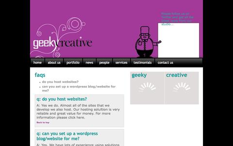 Screenshot of FAQ Page geekycreative.com - Help and advice on web design/development, Smartphone Apps and marketing - captured Sept. 29, 2014