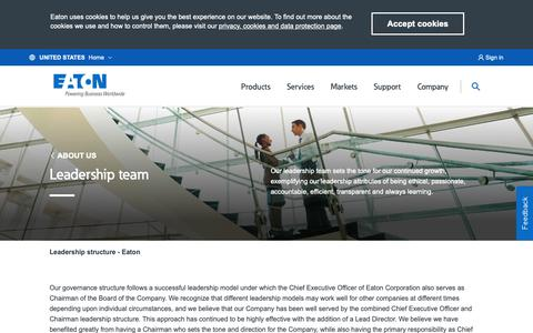 Screenshot of Team Page eaton.com - Leadership team - captured Jan. 4, 2019