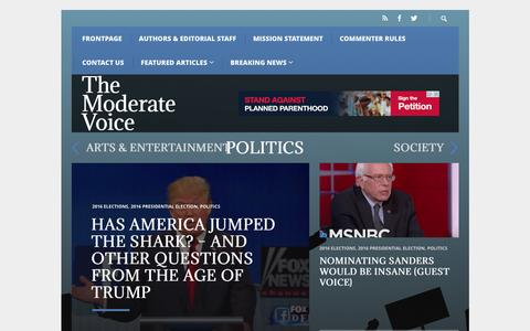 Screenshot of Home Page themoderatevoice.com - Frontpage – The Moderate Voice - captured Jan. 28, 2016