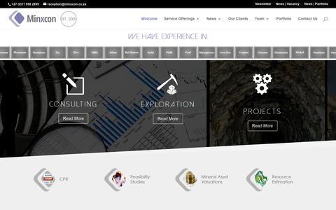 Screenshot of Home Page minxcon.co.za - Home Page - Minxcon Group - captured Nov. 19, 2018
