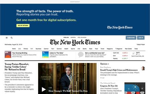 Screenshot of Home Page nytimes.com - The New York Times - Breaking News, World News & Multimedia - captured Aug. 23, 2018