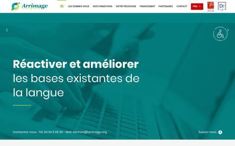Screenshot of Home Page arrimage.org - Centre formation langues Montpellier - Arrimage Langues - captured Dec. 9, 2018