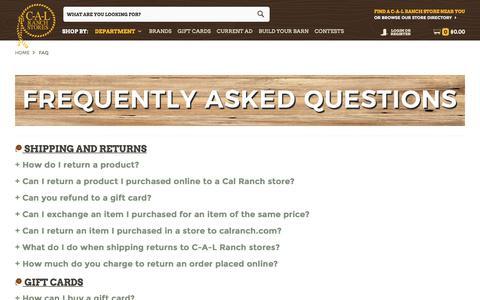 Screenshot of FAQ Page calranch.com - FAQ - captured Sept. 25, 2018