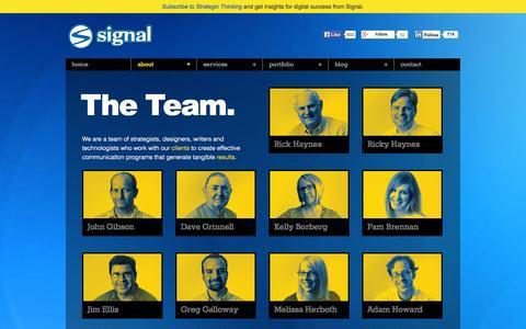 Screenshot of Team Page signalinc.com - The Team | Signal - captured Oct. 26, 2014