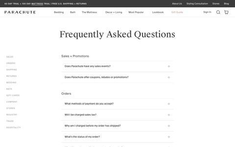 Screenshot of Contact Page FAQ Page parachutehome.com - FAQ | Parachute - captured Feb. 12, 2020