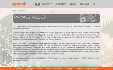 Screenshot of Privacy Page zeenoh.com - Privacy Policy    Zeenoh - An entertainment software company - captured Nov. 1, 2017