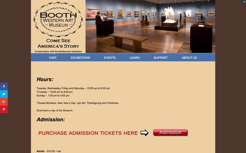 Screenshot of Maps & Directions Page Hours Page boothmuseum.org - Visit - Booth Western Art Museum - captured Nov. 23, 2016