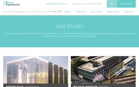 Screenshot of Case Studies Page tealproducts.com - Case Studies - Teal Products - captured Nov. 2, 2017