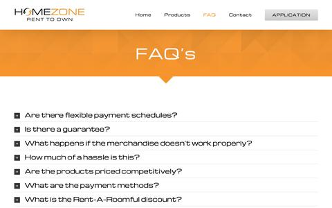 Screenshot of FAQ Page homezonerto.com - Frequently Asked Questions - captured Oct. 1, 2018