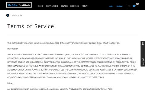 Terms of Service | McAfee Institute