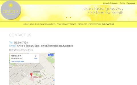 Screenshot of Contact Page anitasbeautyspa.ca - Anita's Beauty Spa - Kitchener-Waterloo Spa - captured Sept. 30, 2014
