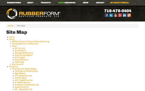 Screenshot of Site Map Page rubberform.com - Sitemap | RubberForm Recycled Products, LLC - captured Nov. 4, 2014