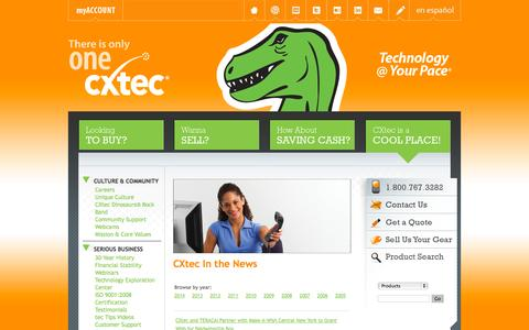 Screenshot of Press Page cxtec.com - CXtec | In the News - captured Sept. 27, 2014