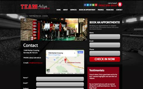 Screenshot of Contact Page teamclips.ca - Contact   Team Clips - captured Oct. 7, 2014