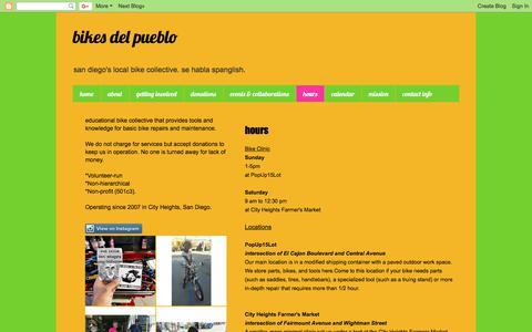 Screenshot of Hours Page bikesdelpueblosd.blogspot.com - bikes del pueblo: hours - captured Oct. 10, 2017