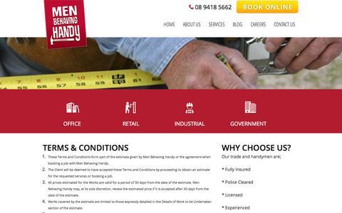 Screenshot of Terms Page menbehavinghandy.com.au - Terms & Conditions - Men Behaving Handy - captured Oct. 29, 2014