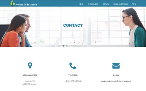 Screenshot of Contact Page werkenindechemie.nl - Werkindechemie - Contact - captured Oct. 20, 2018