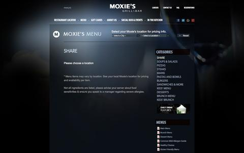 Screenshot of Menu Page moxies.ca - Share | Moxie's Grill & Bar - captured Jan. 17, 2016