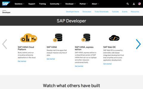 Screenshot of Developers Page sap.com - Resources for SAP Developers | SAP - captured Sept. 20, 2016