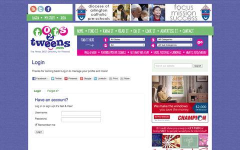 Screenshot of Login Page tots2tweens.com - Login - Tots2Tweens.com - captured Oct. 7, 2014