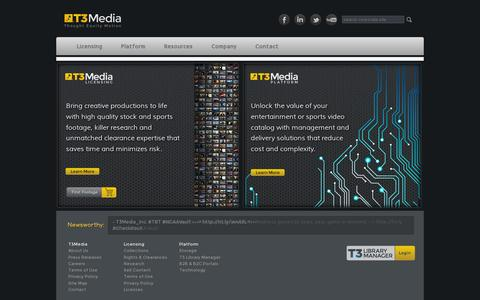 Screenshot of Home Page t3media.com - T3Media | Enterprise Video Management, Delivery and Monetization - captured July 11, 2014