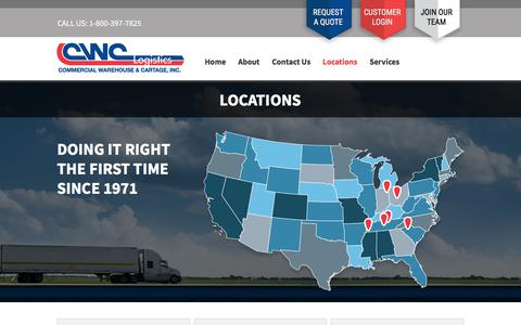 Screenshot of Locations Page cwclogon.com - Locations - Commercial Warehouse & Cartage - captured Sept. 26, 2018