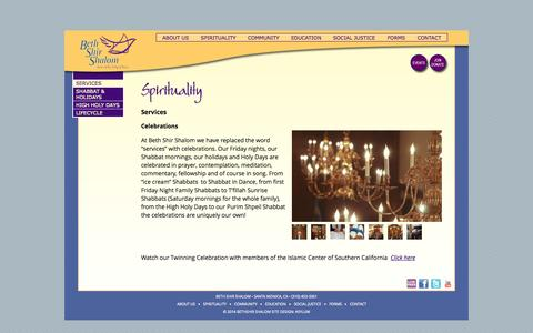 Screenshot of Services Page bethshirshalom.org - Services | Beth Shir Shalom - captured Oct. 5, 2014