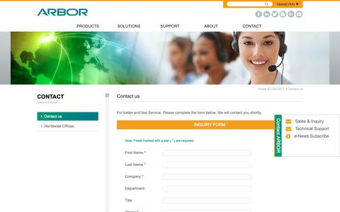Screenshot of Contact Page arbor-technology.com - Contact us - Contact us | ARBOR Technology - captured Oct. 21, 2018