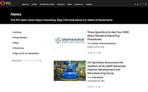 Screenshot of Press Page pcisynthesis.com - News - Blog - Press Releases - Media   PCI Synthesis - captured July 9, 2016